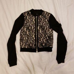 H & M Lace Black Taupe Jacket Cardigan XS